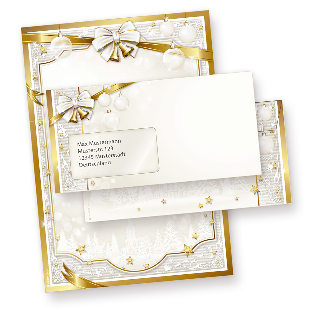 Briefpapier Set Weihnachten GOLDEN ROYAL (25 Sets mit Fensterumschläge)  Weihnachten Papier gold