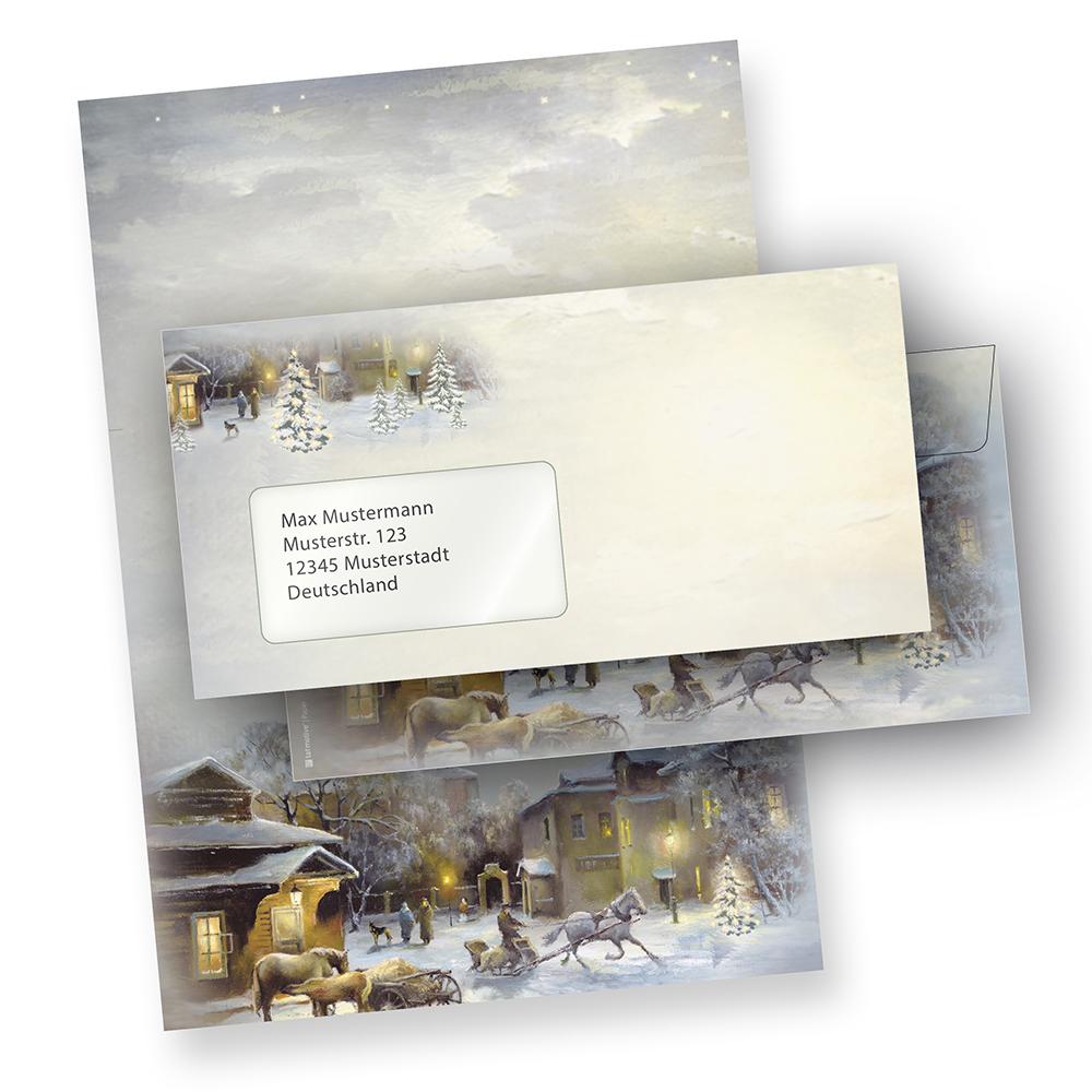 Weihnachtsbriefpapier WINTER-AQUARELL (250 Sets mit Fensterumschläge)  online bestellen