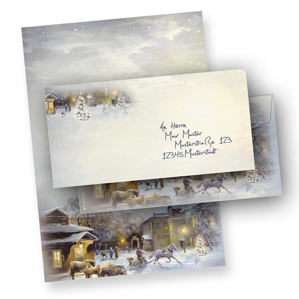 Weihnachtsbriefpapier Set WINTER-AQUARELL (25 Sets ohne Fenster)  mit Umschlag