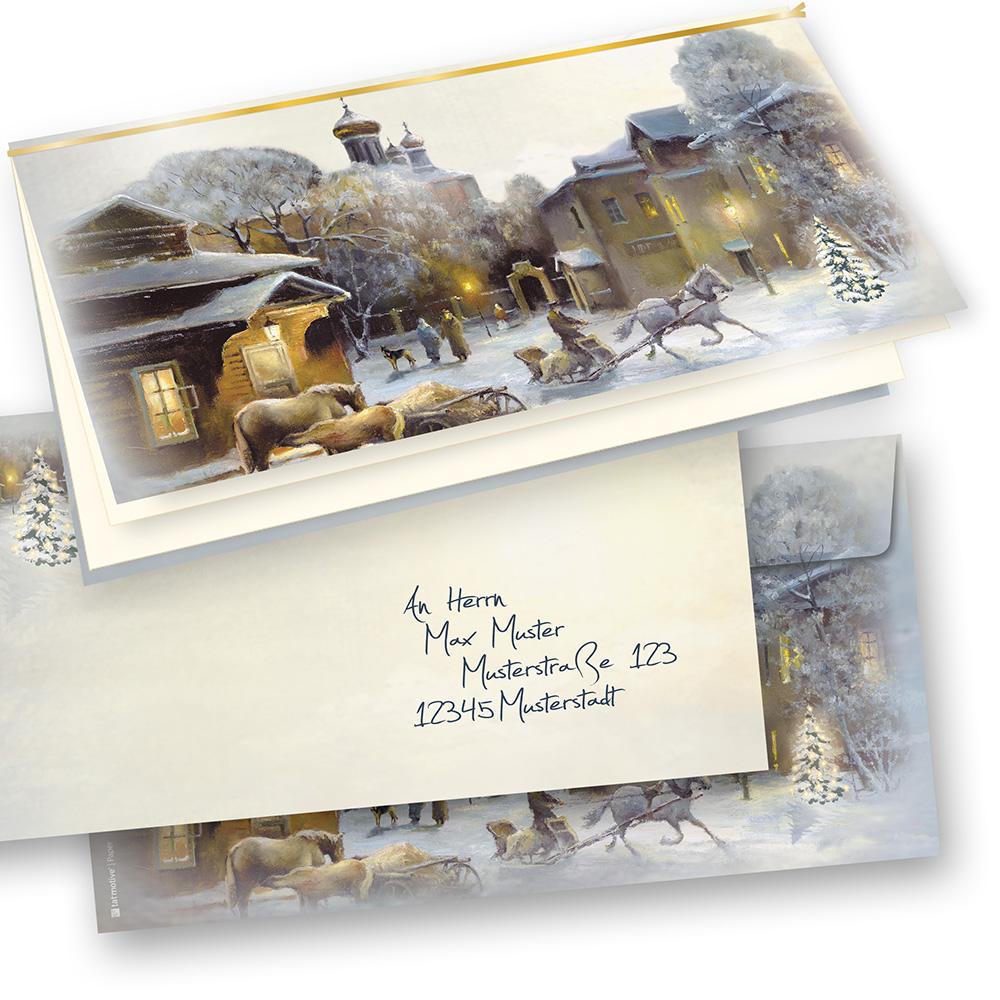 Weihnachtskarten Bedrucken.Weihnachtskarten Mit Umschlag Winter Aquarell 25 Sets Selbst Bedrucken