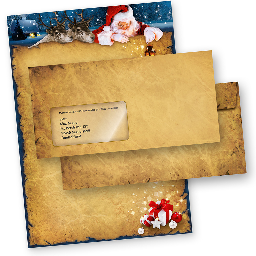 Briefpapier Weihnachten NORDPOL EXPRESS (10 Sets mit Fensterumschläge) mit Briefumschlägen