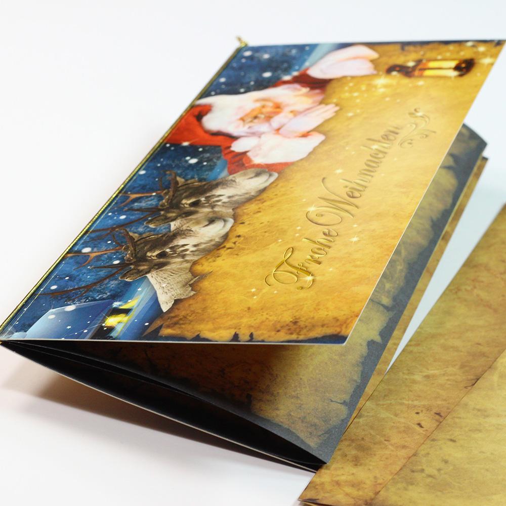 Besondere Weihnachtskarten mit Weihnachtsgeschichte Nordpol Express (10 Sets)  für Firma und privat