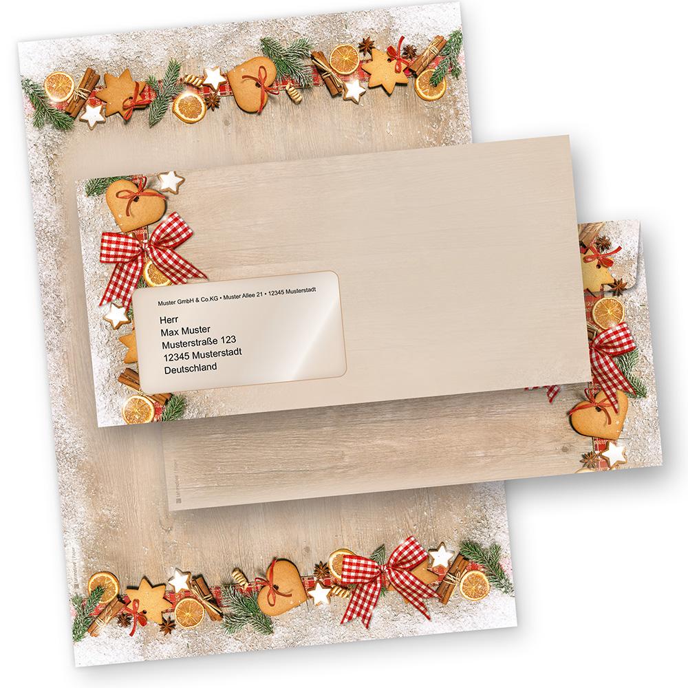 Briefpapier Weihnachten LANDIDYLLE (250 Sets mit Fensterumschläge) Weihnachtsbriefpapier DIN A4