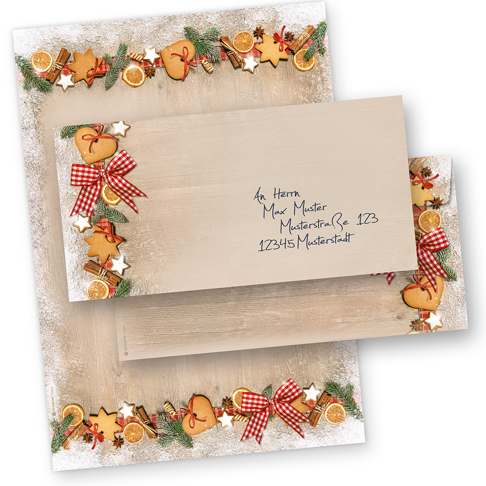 Briefpapier Set Weihnachten LANDIDYLLE (25 Sets ohne Fenster) Weihnachtsbriefpapier DIN A4