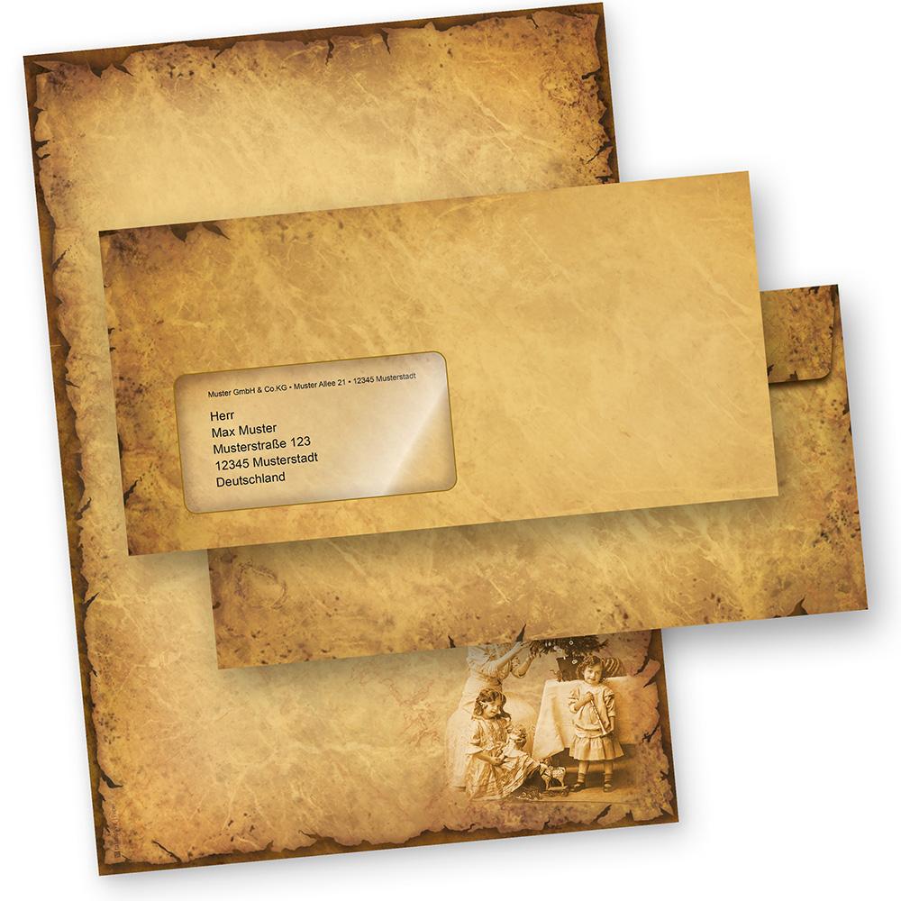 Briefpapier Weihnachten NOSTALGIE (250 Sets mit Fensterumschläge) Weihnachtsbriefpapier DIN A4