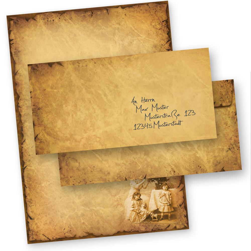 Briefpapier Weihnachten NOSTALGIE (100 Sets ohne Fenster) Weihnachtsbriefpapier DIN A4