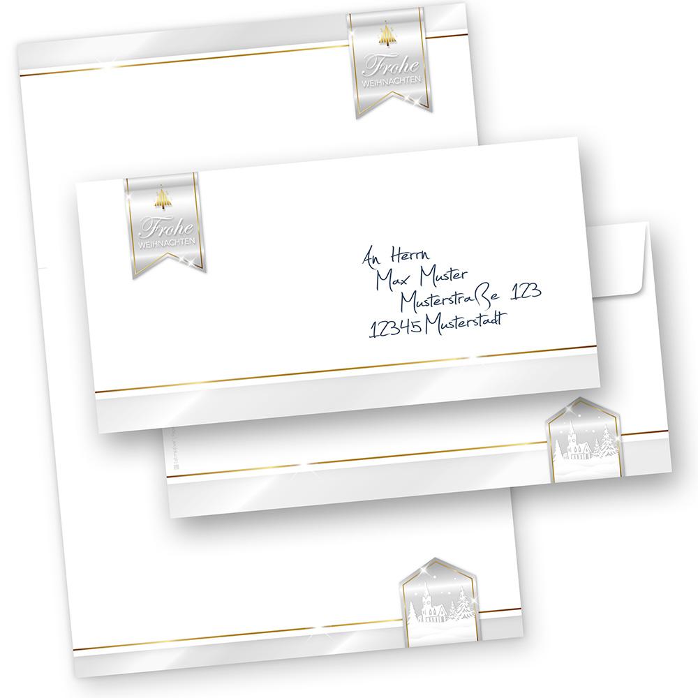 Business Design 100 Sets Briefpapier Weihnachten mit Umschläge ohne Fenster geschäftlich kaufen