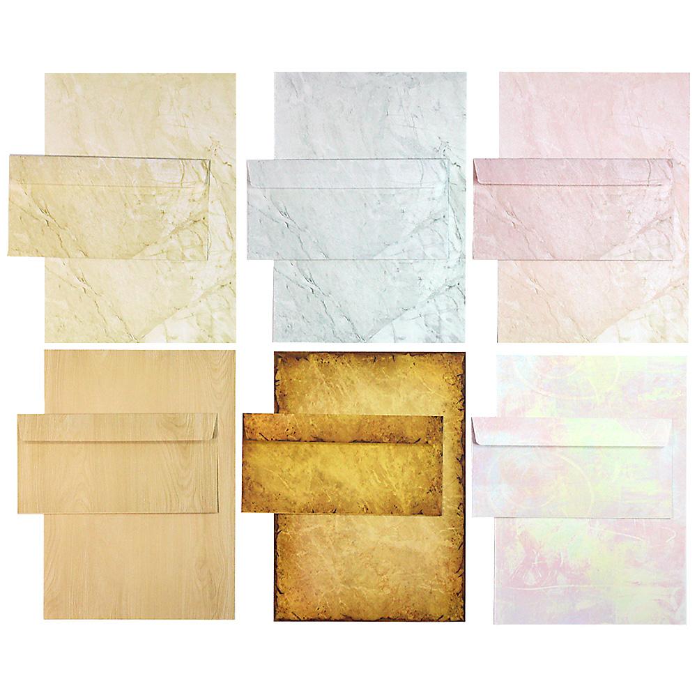 Briefpapier Set - Mix Strukturpapier - 6 verschiedene Motive je 5 Briefpapiere und je 5 passende Briefumschläge