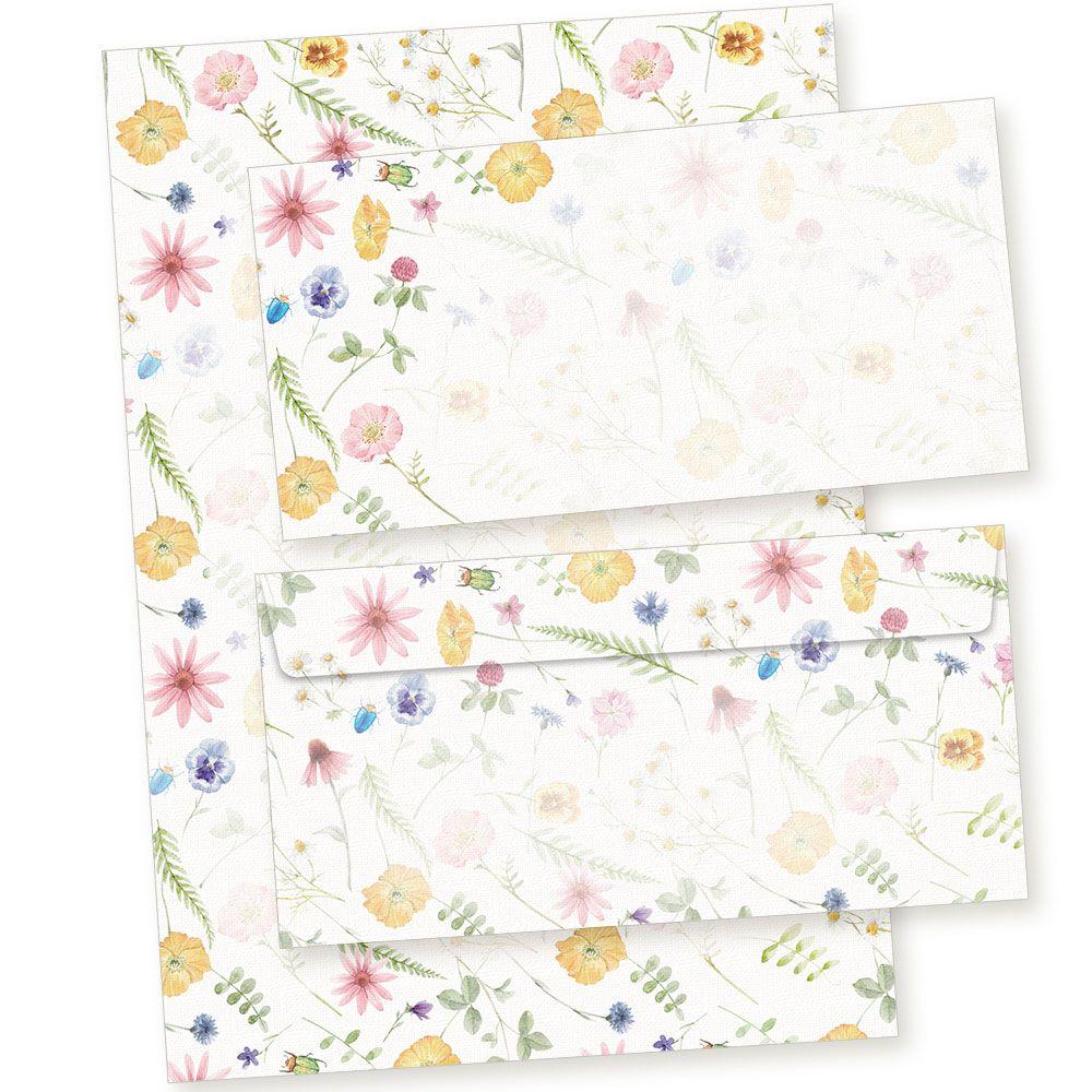 10 Blatt Briefpapier 10 Umschläge Set DIN A4 Briefbögen Motivpapier Vintage grau
