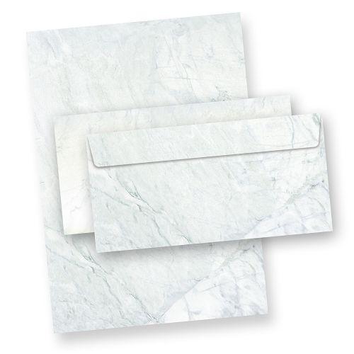 mit Umschlag Briefpapier blau grau marmoriert 25 Sets o.F