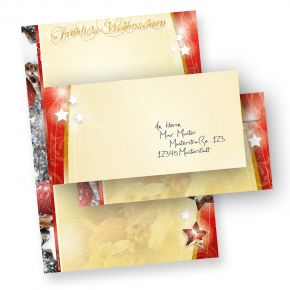 Weihnachtsbriefpapier 1-seitig (25 Sets ohne Fenster) Motivpapier Lebkuchen DIN A4 farbig bedruckt,  mit passenden Umschlägen
