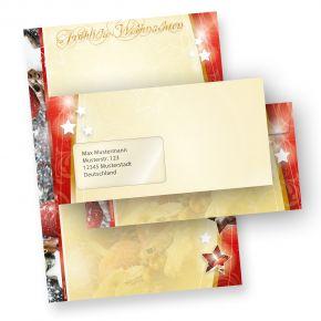 Motivpapier Weihnacht 1-seitig (25 Sets mit Fenster) DIN A4 Weihnachtsbriefpapier mit Umschläge