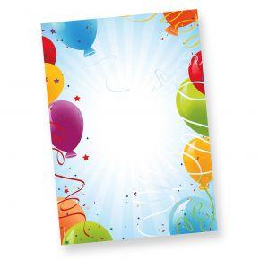 Briefpapier Geburtstag Luftballons 50 Blatt DIN A4 90g/qm beidseitig bedruckt, für Einladung oder Geburtstagsgrüße