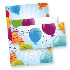 Briefpapier Set Luftballon (25 Sets inkl. Kuverts)25 Briefpapiere beidseitig DIN A4, mit 25 Umschläge, neu OVP