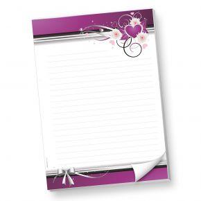 Schreibblock DIN A4 liniert lila Herzen (1 Stück) Briefpapier-Block mit Linien