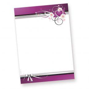 Elegantes Briefpapier Liebe, Herzen (50 Blatt) mit romatischem Herzmotiv, 50 Motivpapiere DIN A4 297 x 210 mm farbig