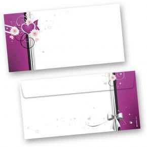 Briefumschläge Herzen (50 Stück) Für Einladungskarten, Glückwunschkarten, Grusskarten.  Passendes Briefpapier und Klappkarten erhältlich oder auch als Set.