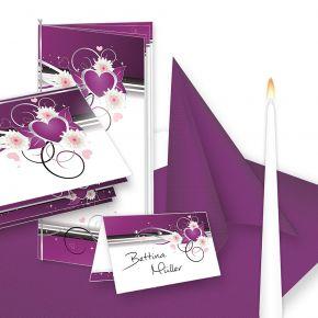 Einladung+Tischdeko Set Hochzeit Herzen (32 Gäste) Komplett-Set lila weiß für Hochzeit - fein abgstimmt mit Einladungskarten, Menükarten, Tischkarten, Kerzen, Servietten etc.