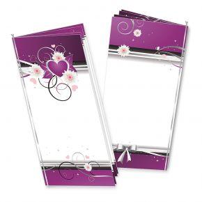 Menükarten Geburtstag Herzen (25 Stück) Set lila weiß mit Einlegeblätter zum Selbstbedrucken + Silberband