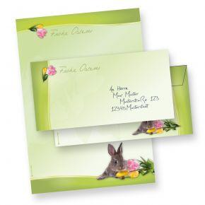 Briefpapier Set A4 Osterhase (10 Sets ohne Fenster) 10 Briefbogen + 10 Umschläge Ostern