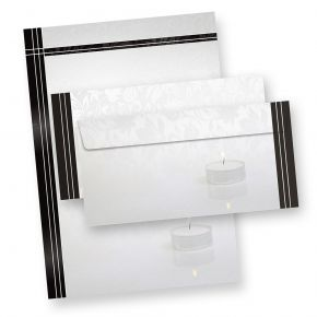 Briefpapier Set Trauer (25 Sets ohne Fenster) Set mit Trauerpapier A4 und passende Trauerumschläge mit Trauerrand und Kerze für Beerdigung, Danksagung,