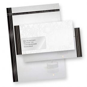 Briefpapier Set Trauer (25 Sets MIT Fenster) Set mit Briefbögen A4 und passende Trauerumschläge MIT FENSTER (auch ohne Fenster erhältlich)