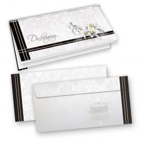 Danksagung Trauerkarten (10 Sets) selbst bedruckbar/beschreibbar mit feinem Einlegeblatt, inkl. Briefumschläge