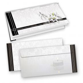 Elegante Trauerkarten (10 Sets) selbst bedruckbar/beschreibbar mit feinem Einlegeblatt, inkl. Briefumschläge