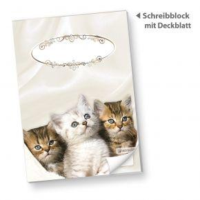 Schreibblock DIN A5 Katzen (10 Stück) süße Notizblöcke liniert mit Katzen