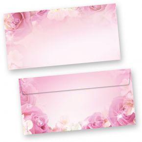 Briefhüllen Rosen (250 Stück) DIN lang Umschlag, beidseitig mit Pink Rosa Motiv. Passendes Briefpapier erhältlich oder auch als Set.