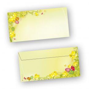 Briefumschläge Ostern 2-seitig (50 Stück ohne Fenster) DIN lang Umschlag mit Ostermotiv  - NEU: inkl. 2 x 2 Oster-Postkarten
