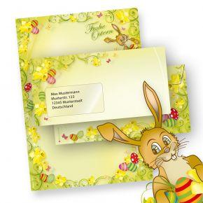 Briefpapier Ostern Set A4 mit Hase (25 Sets mit Fenster) mit Umschläge, Frohe Ostern - NEU: inkl. 2 x 2 Oster-Postkarten