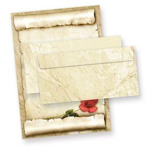 ROTE ROSE Briefpapier-Set (25 Sets) A4 Papier beidseitig mit Umschläge