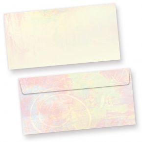 Briefumschläge Pastell (50 Stück) DIN lang Umschlag farbig bunt, beidseitig mit pastellfarbenem Motiv