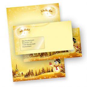 Weihnachtsbriefpapier Set Schneemann (10 Sets mit Fenster) Briefpapier Weihnachten mit Umschläge bedruckt