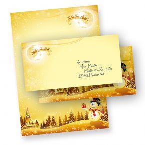 Weihnachtsbriefpapier Set Schneemann (10 Sets ohne Fenster) Briefpapier Weihnachten mit Umschläge bedruckt