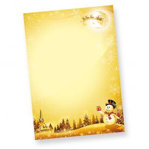 Weihnachtsbriefpapier Schneemann (50 Blatt) wunderschönes Briefpapier Weihnachten DIN A4