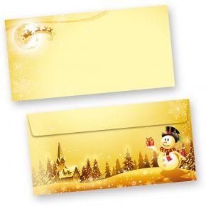 Briefumschläge Schneemann (50 Stück ohne Fenster) Din lang ohne Fenster Umschläge für Weihnachten selbstklebend haftklebend