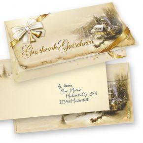 Geschenkgutscheine Weihnachten Winteridylle (25 Sets inkl. Kuverts) einfach Werte eintragen + Stempel, für Firmen aller Art