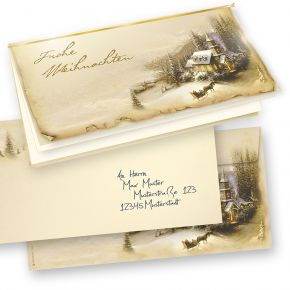 Weihnachtskarten Set Winteridylle (50 Sets inkl. Kuverts) mit Umschläag, selbst bedruckbar