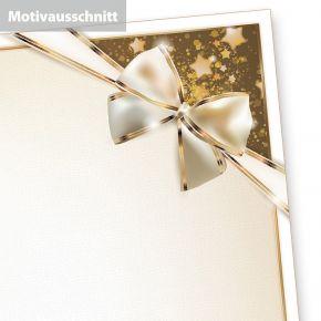 Briefpapier Geschenkschleife (500 Blatt) Weihnachtsbriefpapier, aber auch perfekt für Silvester Menü Briefpapier für Restaurant und Gasthaus, selbst bedruckbar