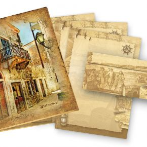 Briefpapier Set Piraten & Seefahrer (25 Sets) Präsentmappe mit beidseitig bedrucktem A4 Schreibpapier inkl. Umschläge