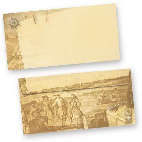 Briefhüllen Piraten & Seefahrer (500 Stück) beidseitig bedruckt DIN lang selbstklebend mit Steuerrad, Anker, Schiff