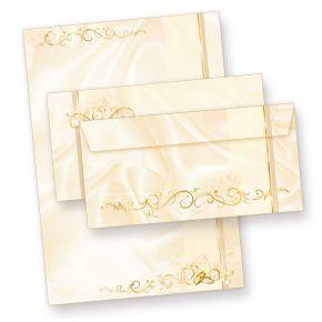 Briefpapier Hochzeit creme (25 Sets inkl. Kuverts) beidseitig bedrucktes A4 Schreib-Papier inkl. Umschläge, für Einladungen