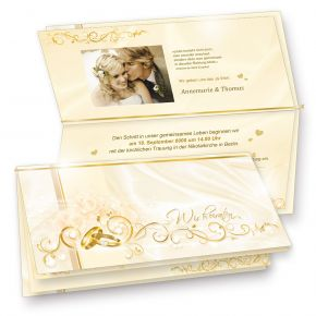 Einladungskarten Hochzeit PERLMUTT (20 Sets) hinreissend - fein abgestimmte Einladungskarten. Set mit 20 Karten, 20 Umschläge, 20 Einlegeblätter zum Selbstbedrucken + 20 Goldbändchen - sehr elegant!