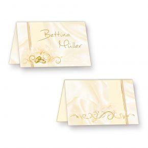Tischkarten Hochzeit PERLMUTT (20 Stück) hinreissend schöne Platzkarten mit Ringen & Ranken - inkl. Gold-Lackstift zum Beschriften!