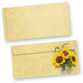 Briefumschläge Sonnenblumen (50 Stück) beidseitig bedruckte DIN lang Umschläge gelb