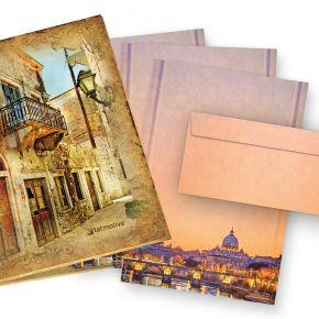 Briefpapier Petersdom Rom (25 Sets inkl. Kuverts) beidseitig wunderschön bedrucktes A4 Schreibpapier mit dem Sankt Peter im Vatikan in Rom, inkl. passender Briefumschläge