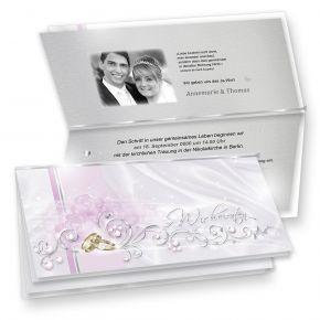Einladung Hochzeit DE LUXE (10 Sets) bedruckbar - elegante Einladungskarten in Silberoptik mit Goldene Ringe + Silber-Einlegeblätter zum selbst Bedrucken