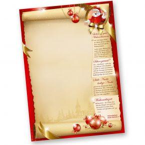 Weihnachtsbriefpapier SANTA CLAUS beidseitig (50 Blatt) mit Gedichten, Infos und Weihnachtsliedern auf der Rückseite für Weihnachten